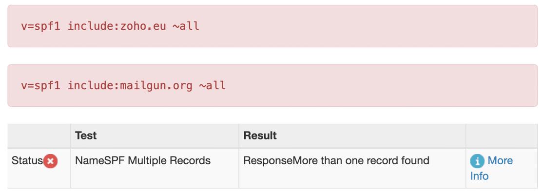 Multiple SPF records error in MXToolbox
