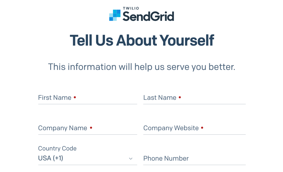 Entering more details to set up a SendGrid account