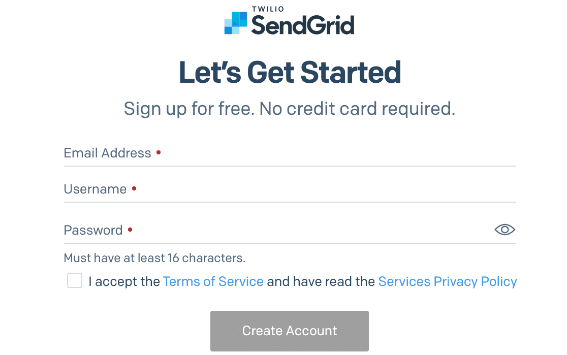 The SendGrid signup page