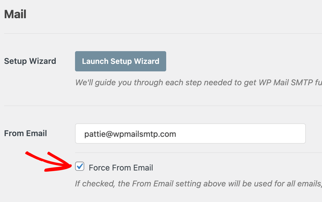 The Force From Email setting