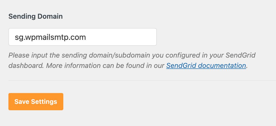 Entering the sending domain for SendGrid in the WP Mail SMTP plugin settings
