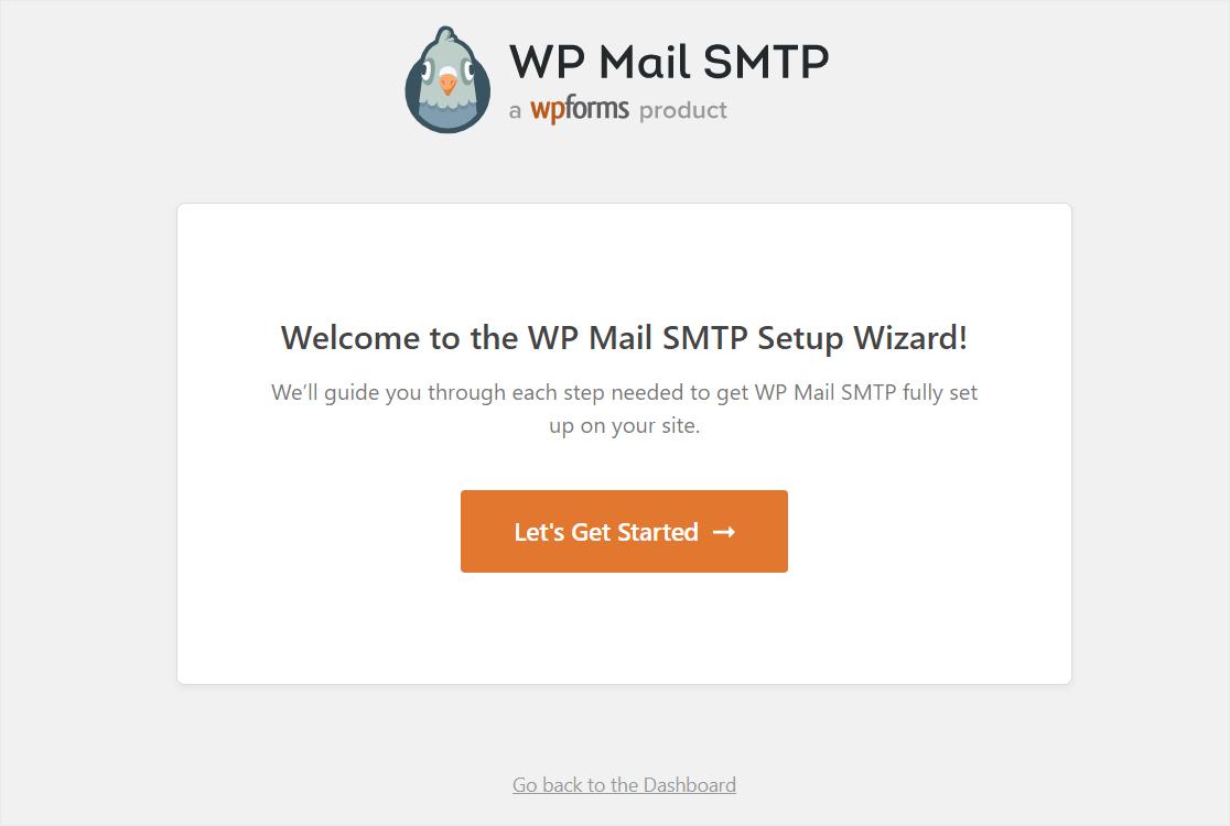 wpmailsmtp setup wizard launch screen