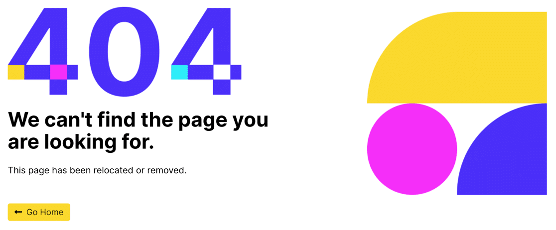 Example of 404 page made using SeedProd