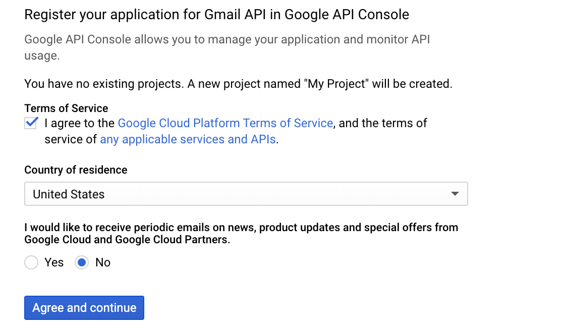 Create a new project for Google application
