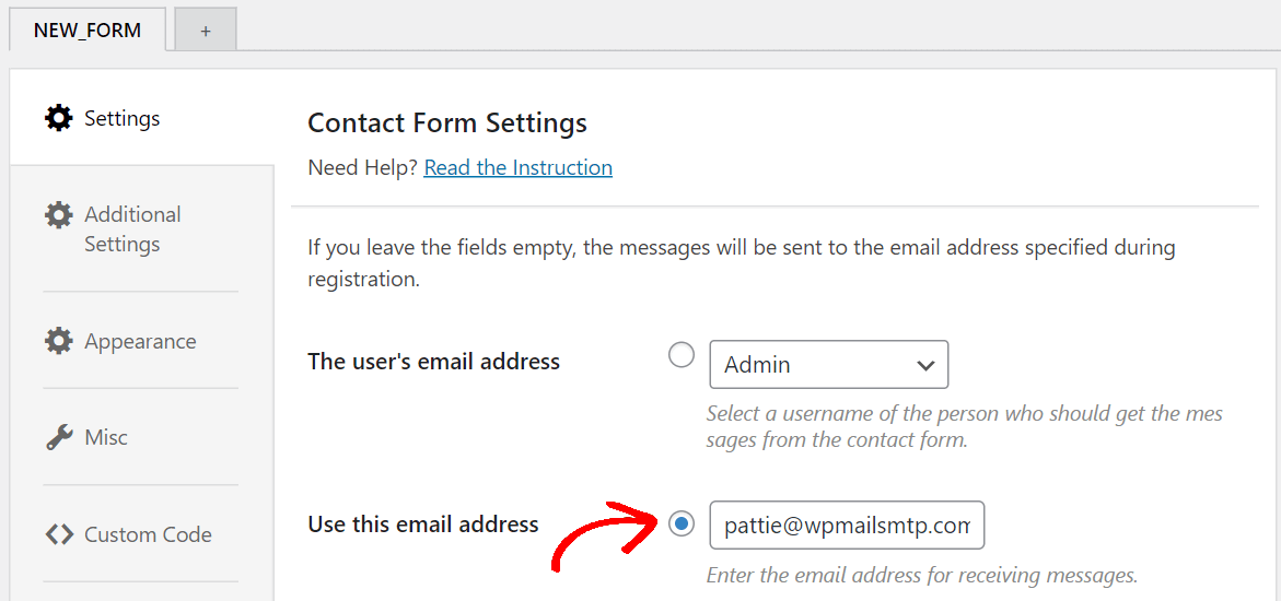 change the email address on which you want to receive email notification