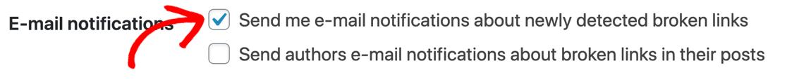 Check settings if Broken Link Checker not sending email