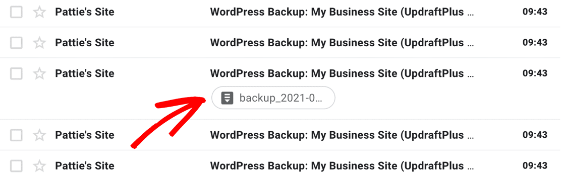 UpdraftPlus missing email attachments