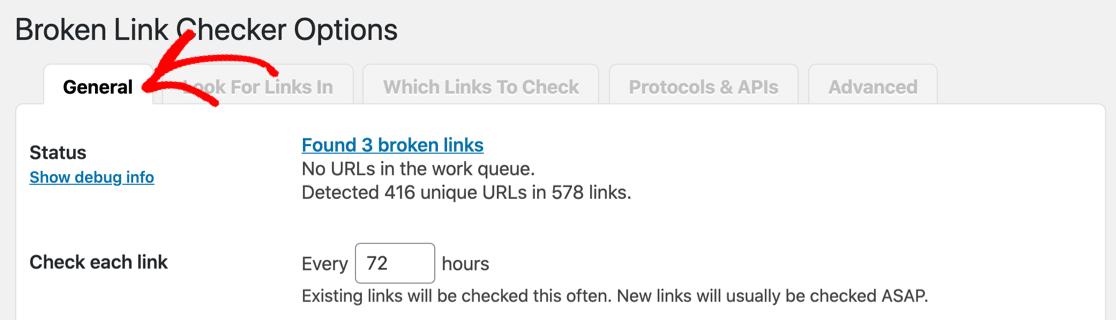 Broken Link Checker general settings