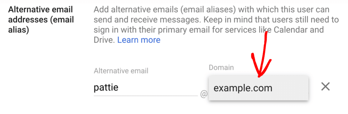 Select domain for new alias in G-Suite