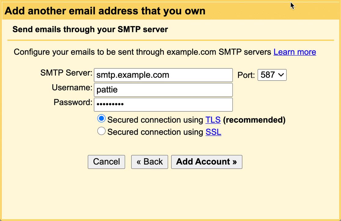 Gmail alias SMTP settings for custom domain