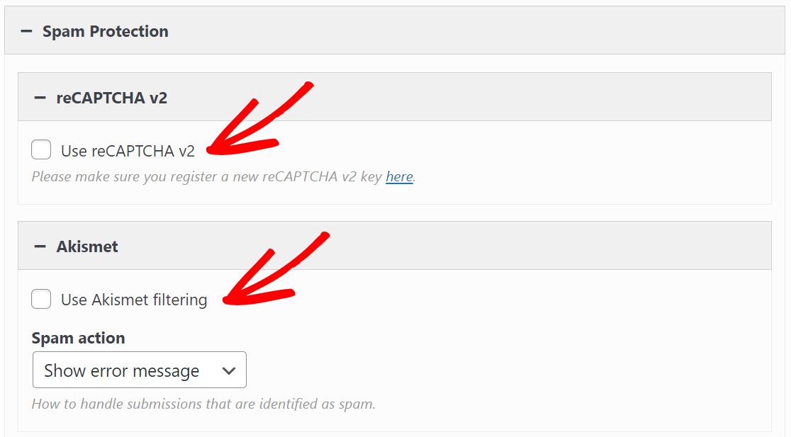 SiteOrigin contact form spam settings