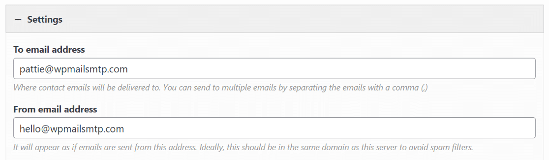 check the to and from email settings in siteorigin contact form