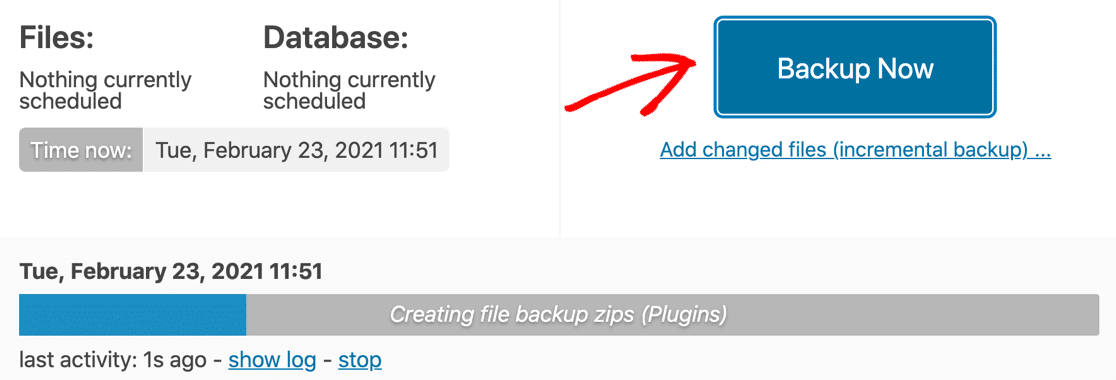 Backup Now button in UpdraftPlus
