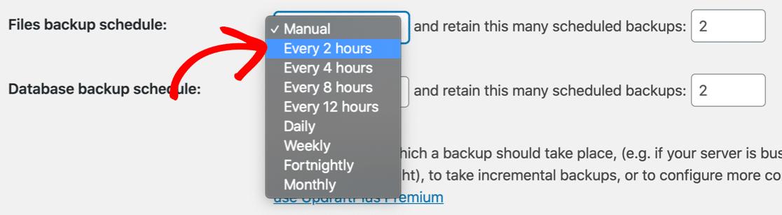 UpdraftPlus backup settings
