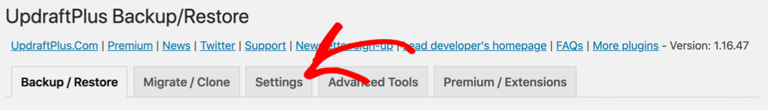 UpdraftPlus settings - not sending email
