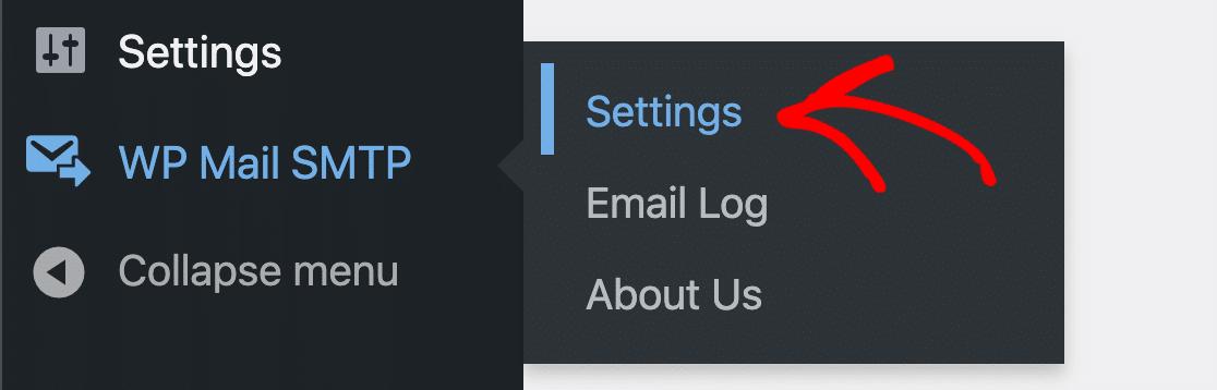 WP Mail SMTP settings menu