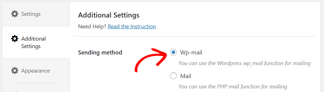 choose Wp-mail as the method for sending email