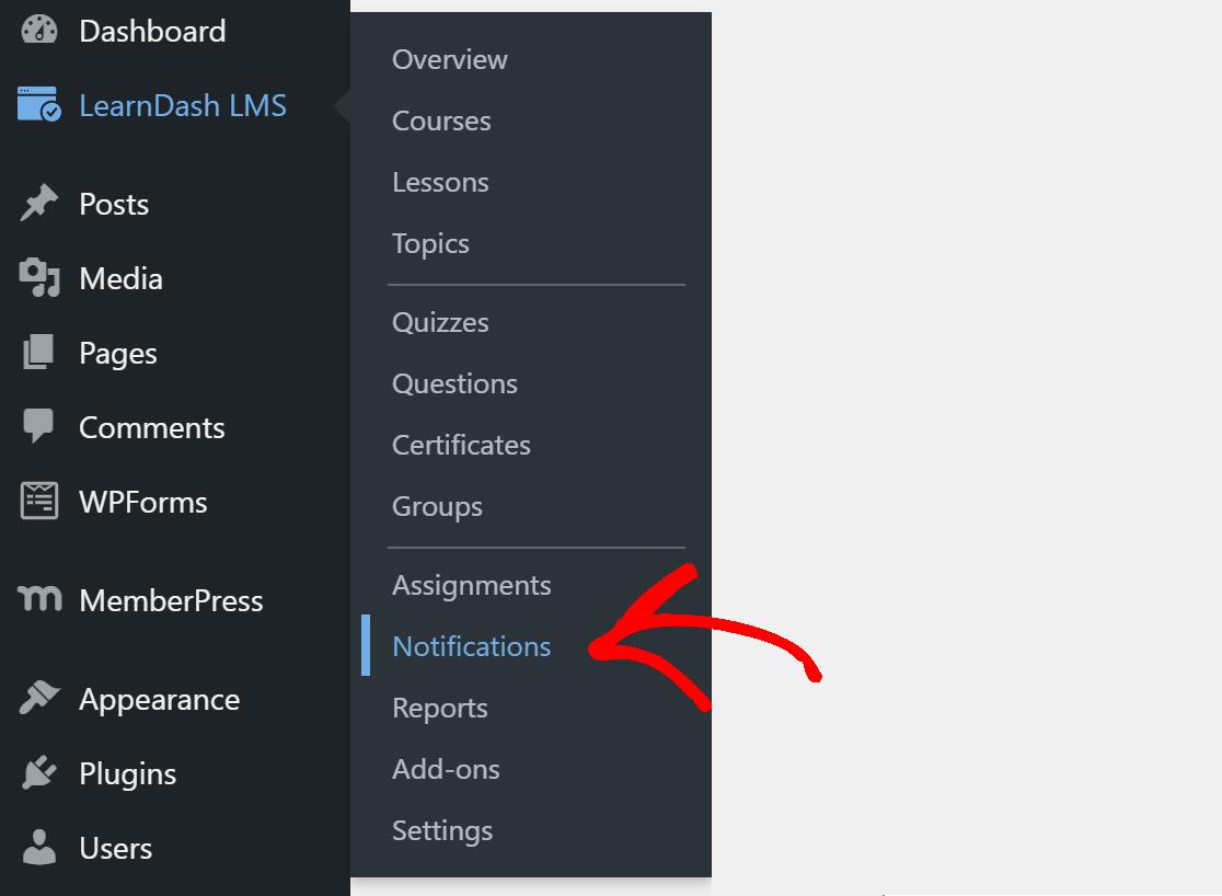 LearnDash notification settings