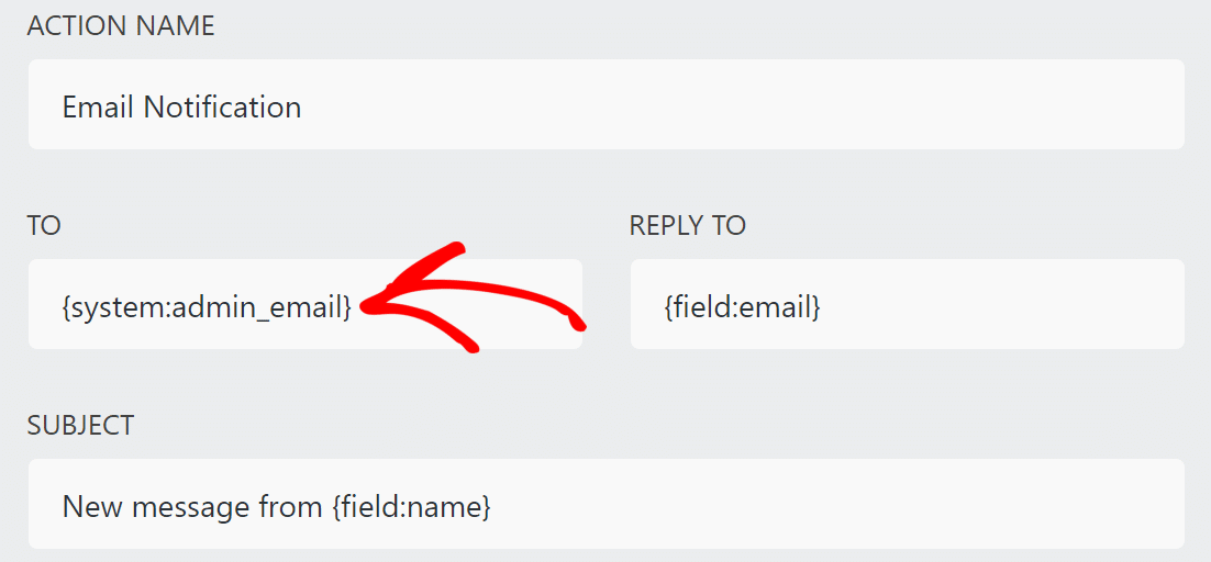 Ninja Forms email notification settings