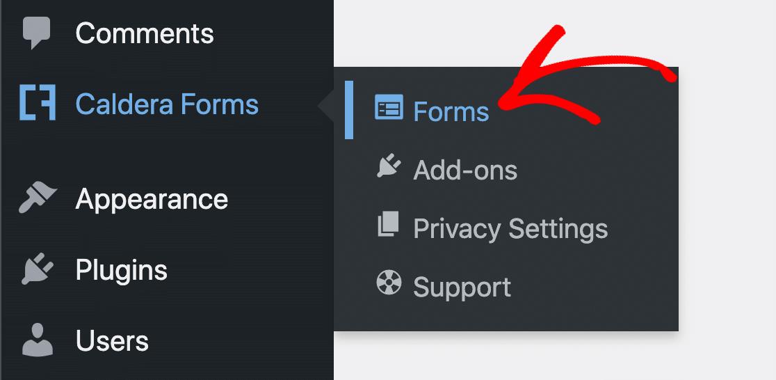 Caldera Forms settings in WordPress