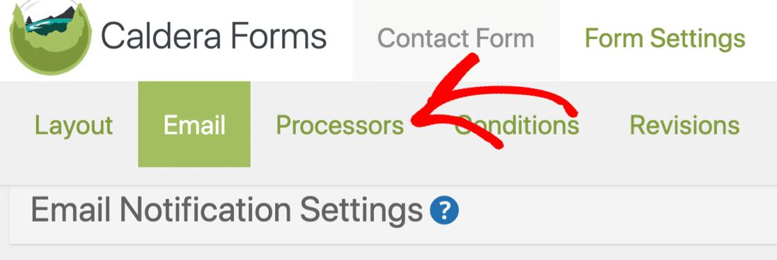Caldera Forms Processors settings