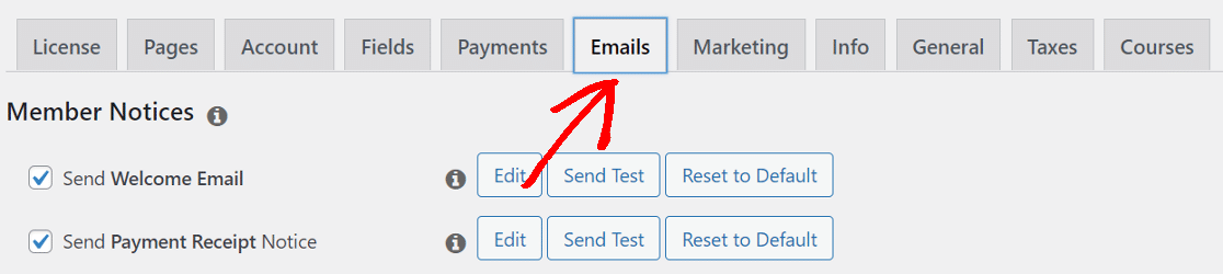 memberpress email settings