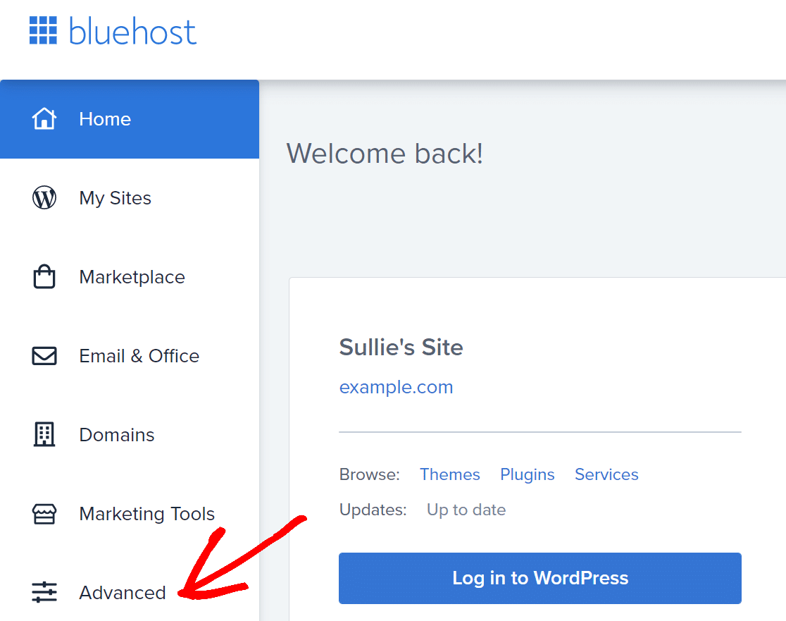 Bluehost cPanel click on Advanced