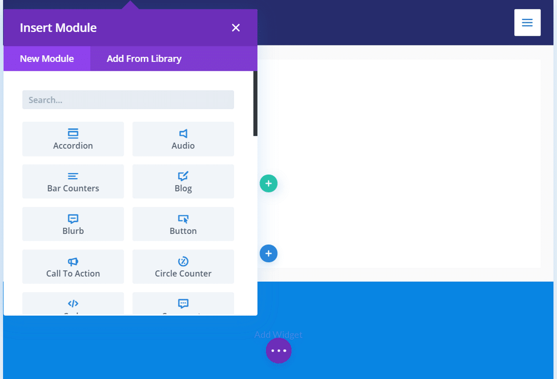Divi Builder interface