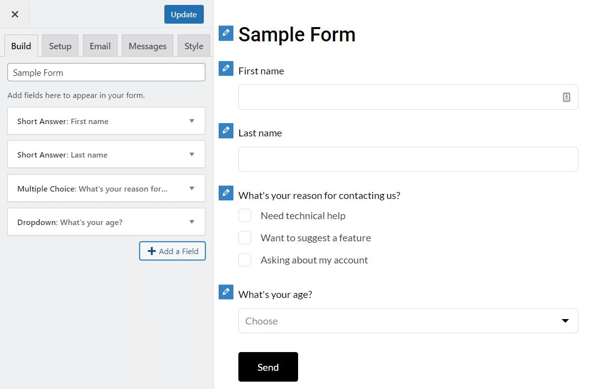 HappyForms builder WordPress Customizer interface