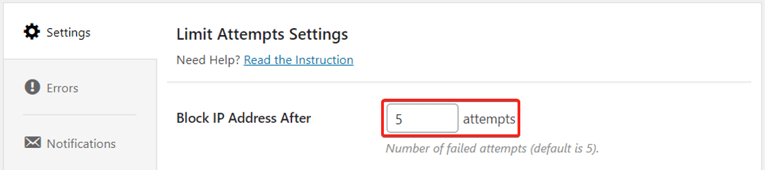 Number of failed attempts in Limit Attempts by BestWebSoft
