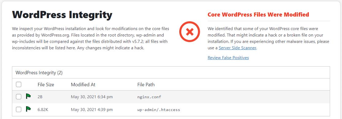Sucuri security dashboard WordPress warning