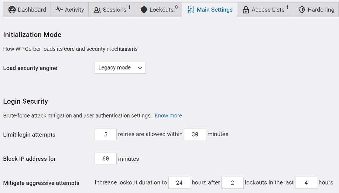 WP Cerber Security main settings
