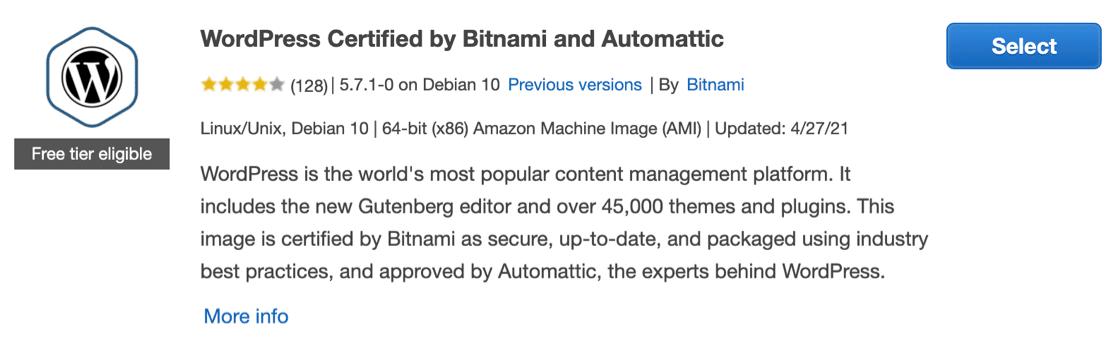 Bitnami WordPress Certified Amazon Machine Image (AMI)