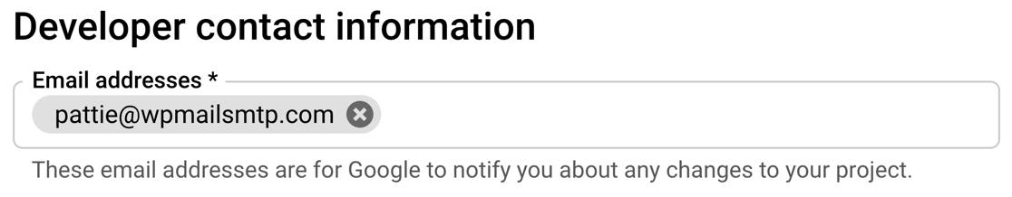 Set developer email in Google Cloud