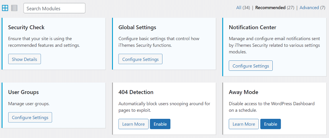 iThemes security plugin dashboard