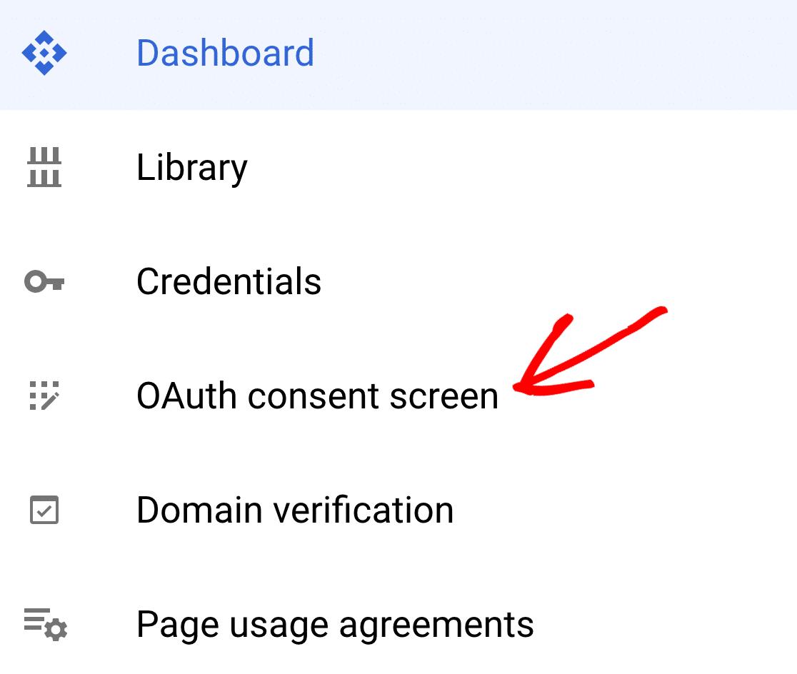 OAuth consent screen menu item