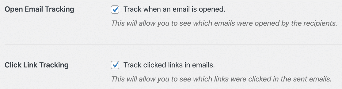 Open and click tracking in WordPress