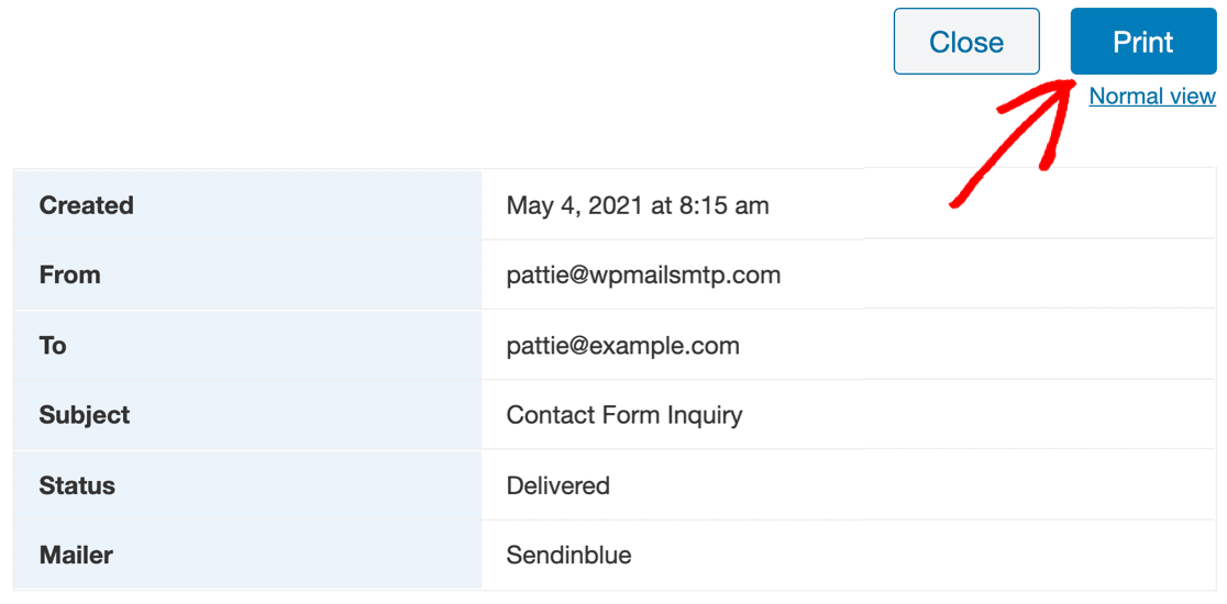 Print Email Log in WP Mail SMTP