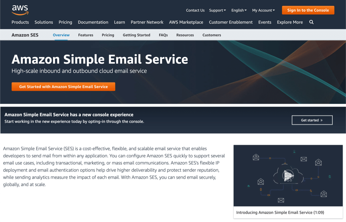 Amazon SES transactional email homepage