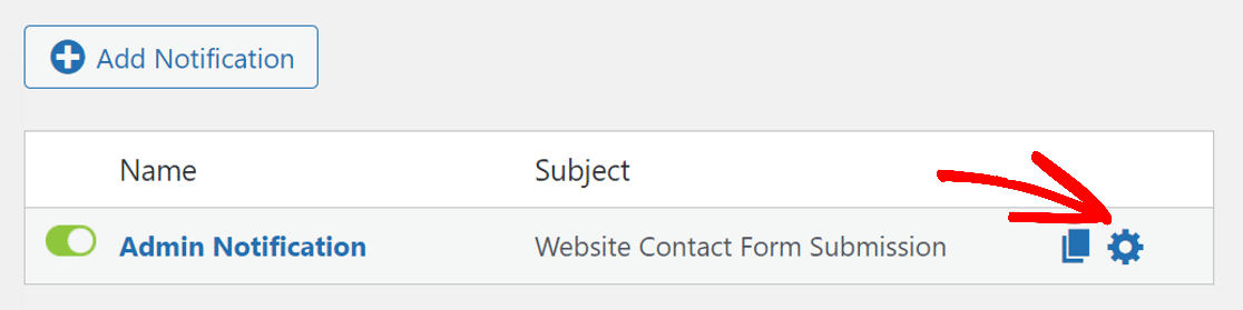 Click on gear icon to open notification in weForms