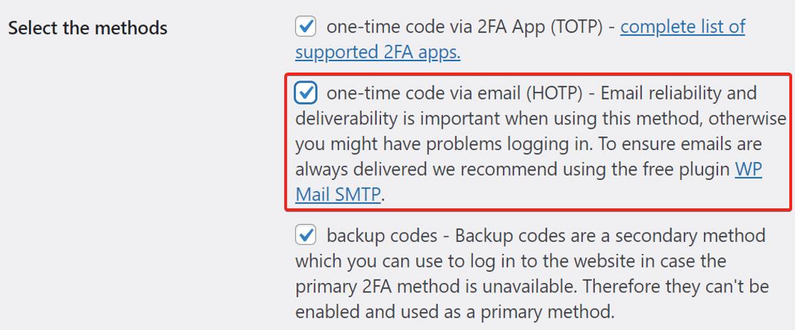 Choose send codes via email
