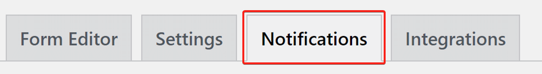 Click on notification tab in weForms
