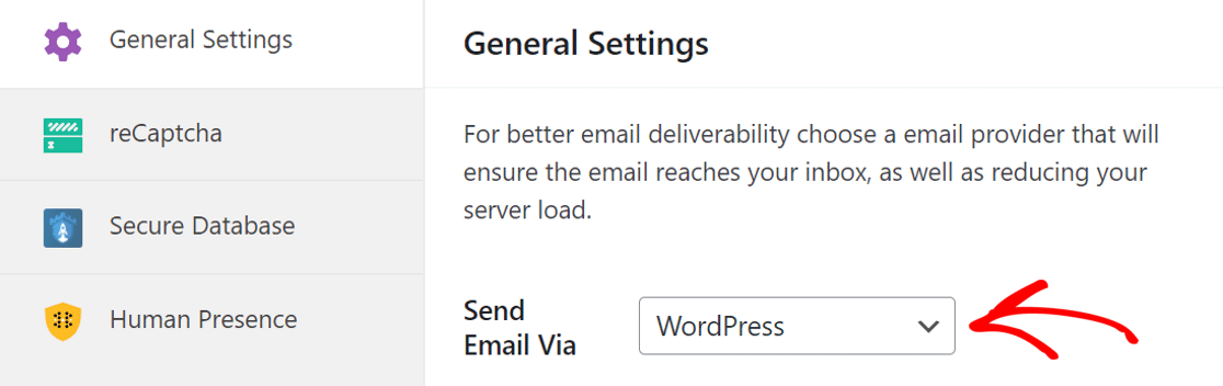 Set the Send Email vis to WordPress