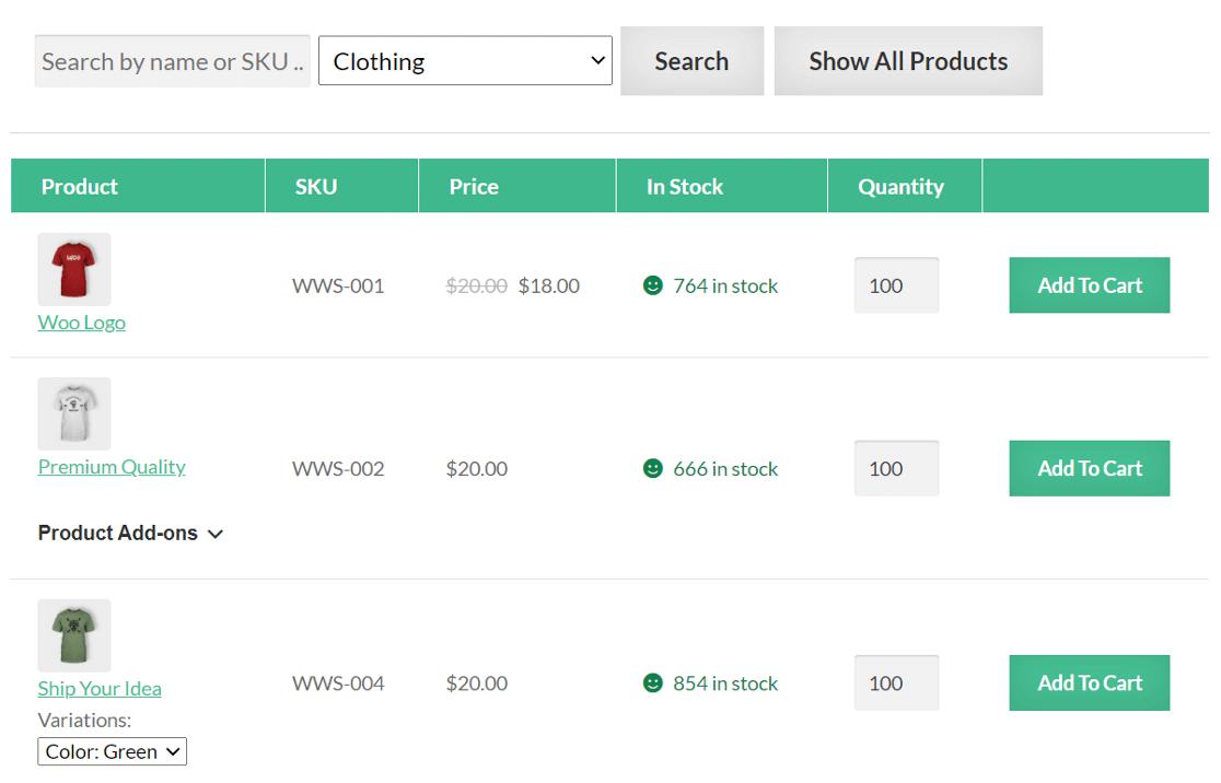 WooCommerce Wholesale Suite order form