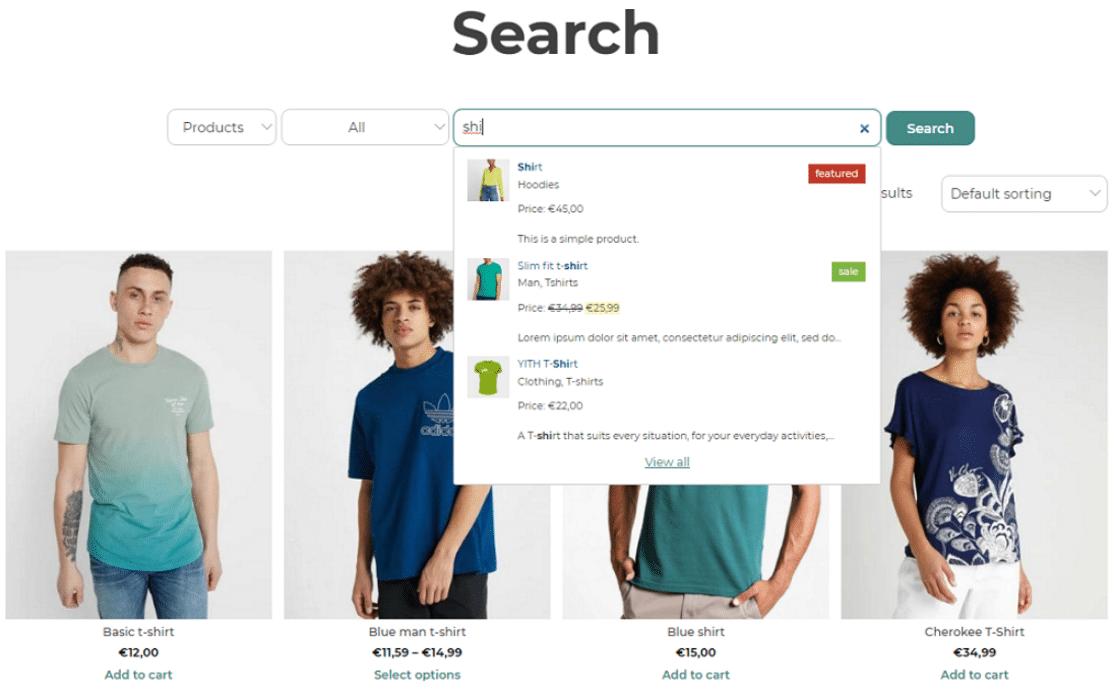 YITH AJAX search