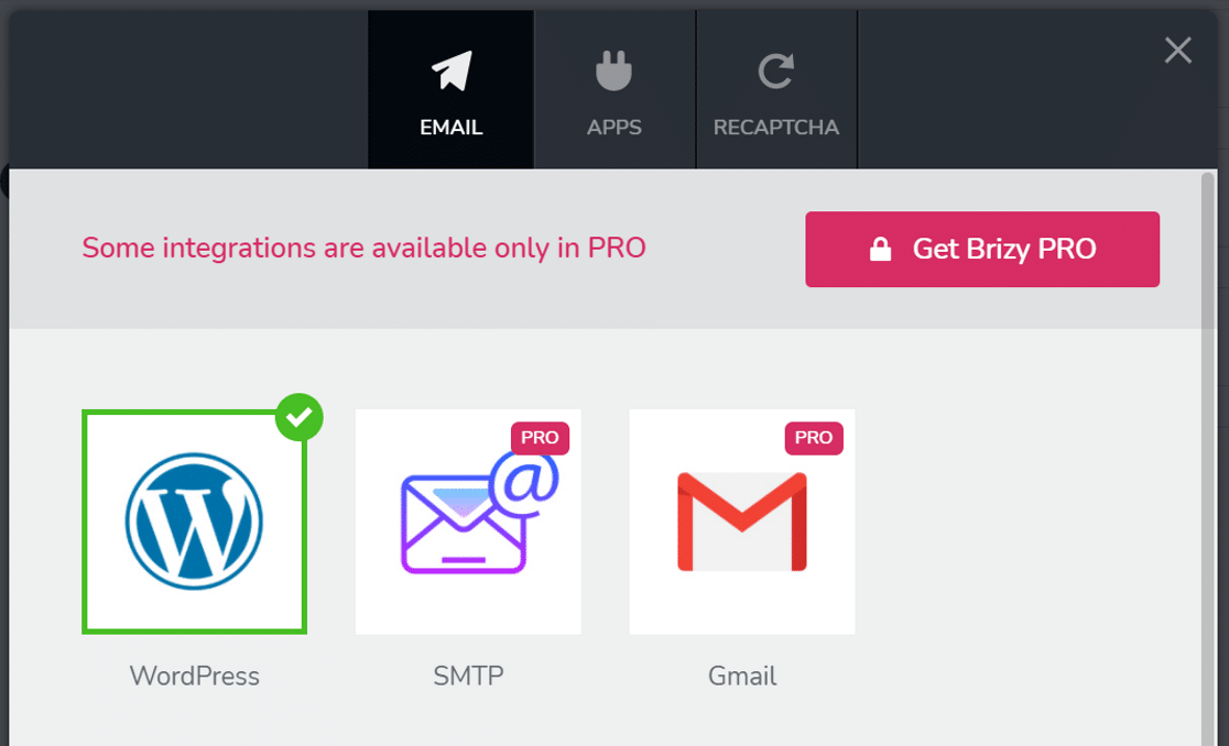 Choose WordPress to send Brizy contact form emails