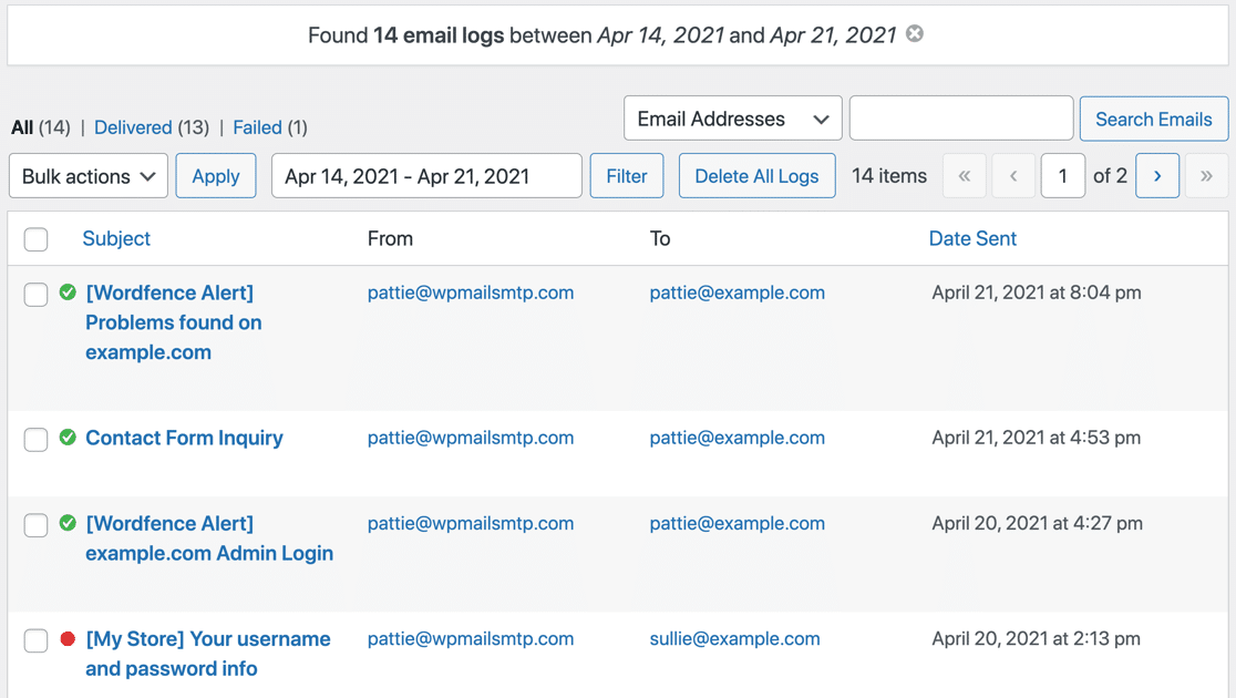 Email log filtered by date in WordPress