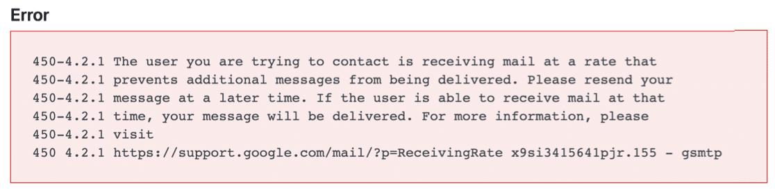 Email log error