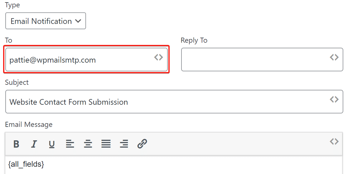 email notification set up in weForms