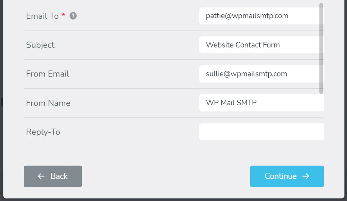 enter details to set up the form in Brizy Contact form